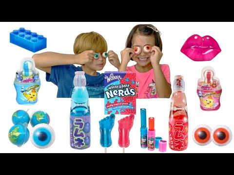 Pink & Blue Candy Mukbang MISHA -Earth Jelly Eyeball And Lips Jelly