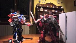 Transformers Dark Of The Moon Stop Motion: Optimus Prime vs Sentinel Prime final battle