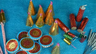 Top view of colorful crackers for Diwali/Dipavali fun and celebrations