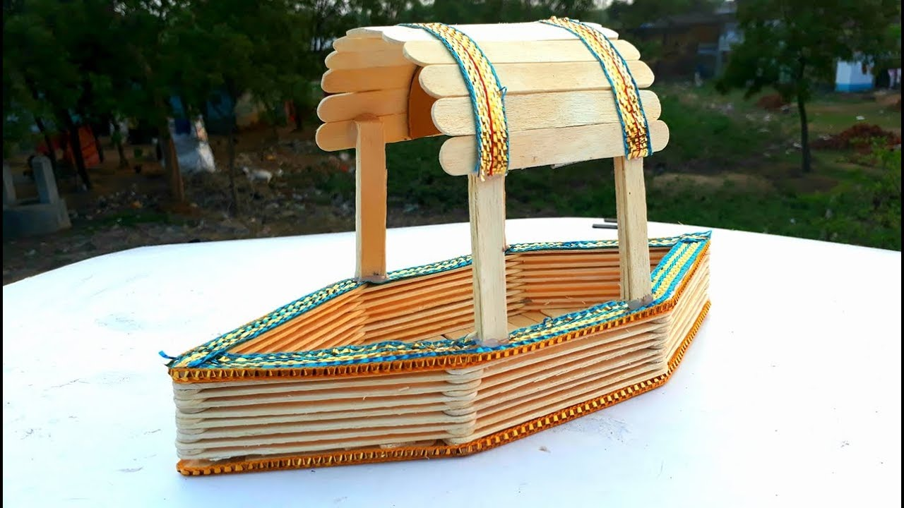 diy how to make popsicle stick boat easy ice cream
