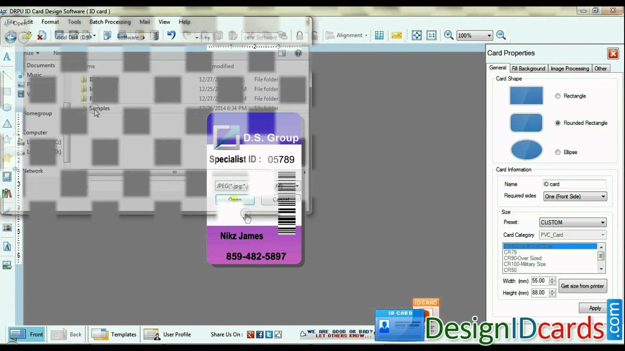 Free Employees Staff Id Identity Cards Badges Maker Design Designing Software Youtube