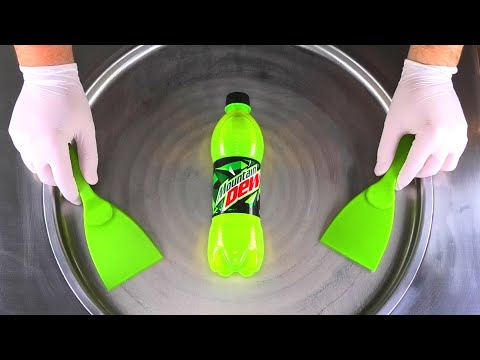 Energy Ice Cream Rolls   how to make Energy Drink rolled Ice Cream with Mountain Dew Recipe   ASMR