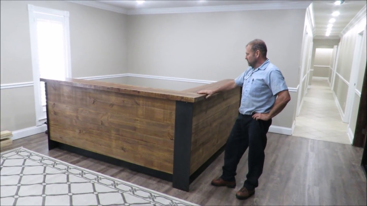 Building a reception desk Metal and wood Step by step
