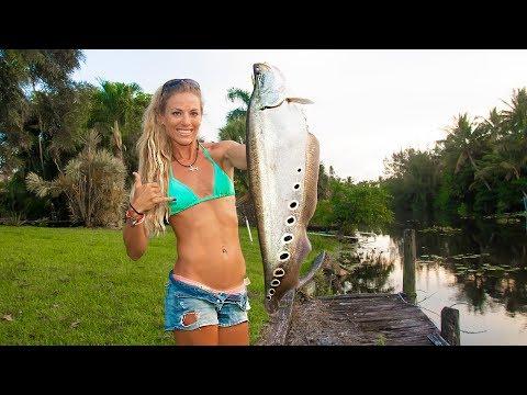 CLOWN Knife Fish (Catch Clean Cook) Exotic Aquarium Fish Living In My Yard!