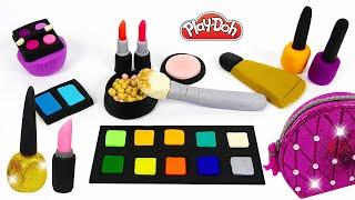dIY Making Play Doh Makeup Set with Glitter Eyeshadow, Lipstick and Nail Polish