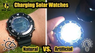 Charging Solar watches - Natural vs. Artificial light experiment using Seiko Digital Tuna