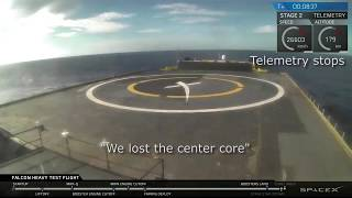 "Center Core crash - SpaceX Falcon Heavy - February 2018 ""We lost the center core"""
