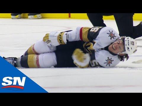Erik Haula Stretchered Off The Ice After Landing Awkwardly On His Own Leg