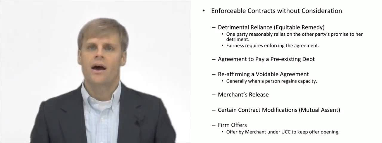 Contracts Enforceable Without Consideration Youtube