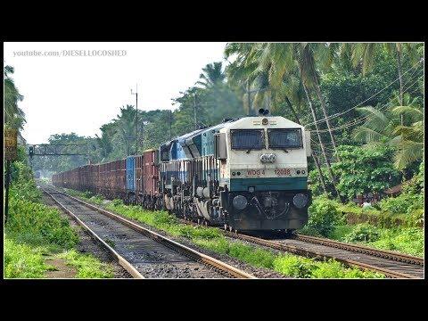 ORIGINAL CAB WDG 4 Twins lead a BOXN Freight !! Indian Railways