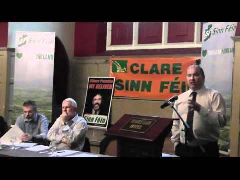 Senator Trevor O'Clochartaigh addressing public meeting in Ennis,