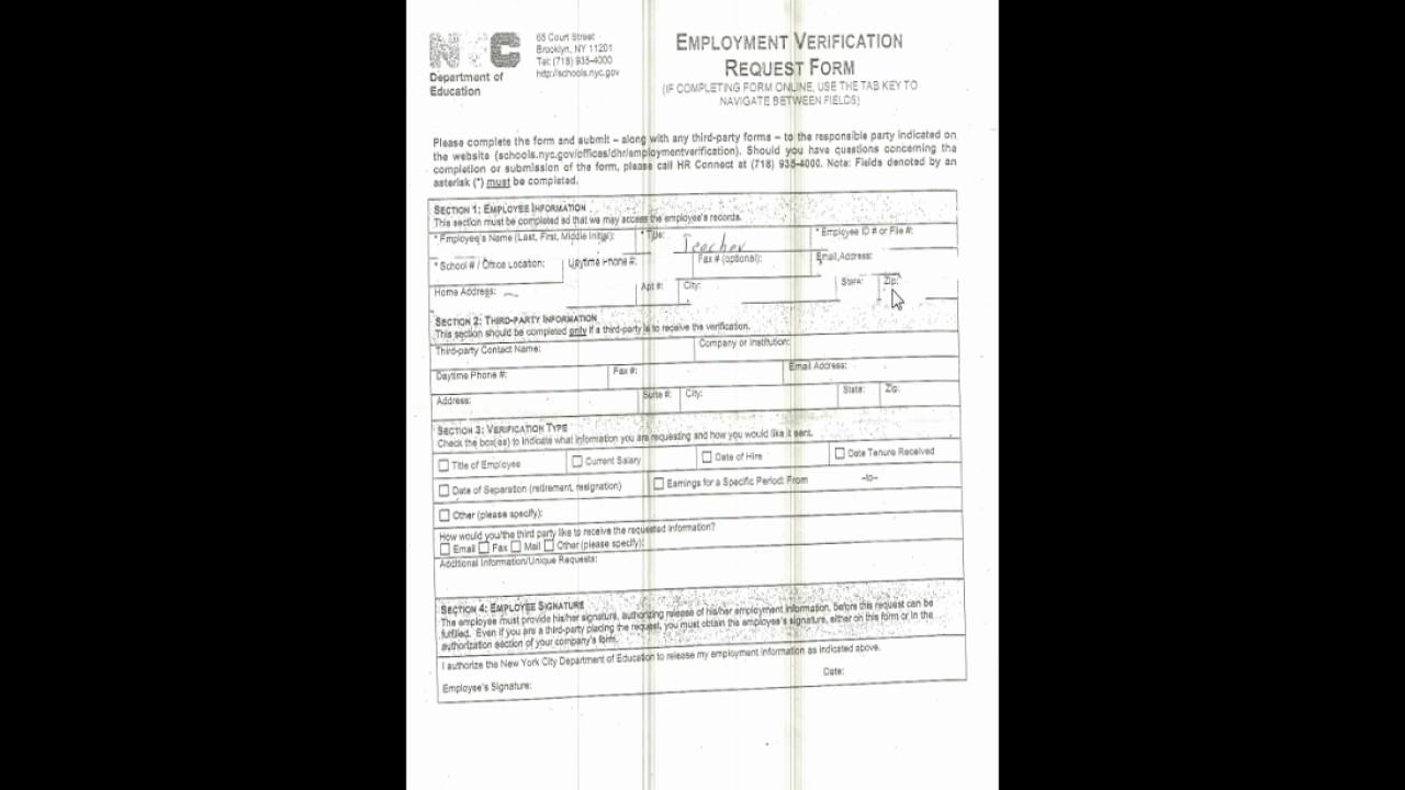 DOE Employment Verification Request Form