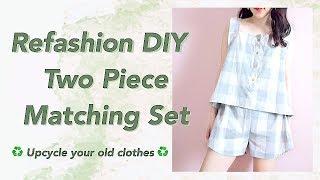 Refashion DIY Two Piece Matching Set / Sewing Tutorial / Thrifted Transformationsㅣmadebyaya