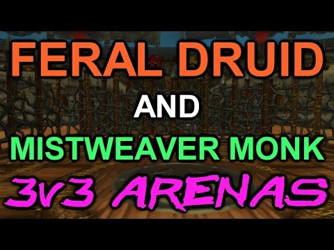 Feral Druid and Mistweaver Monk 3v3 PvP - WoD Unused Arena Games (Warlords of Draenor)