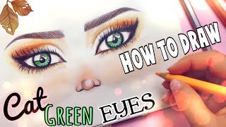 HOW TO DRAW - FALL CAT EYES 🍁#FALLSERIES-2017☕️