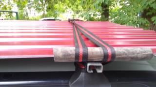 Как перевезти профнастил?(По ширине листы равны ширине багажника, ремни подстрахованы резиновыми трубками!, 2016-08-31T17:56:07.000Z)