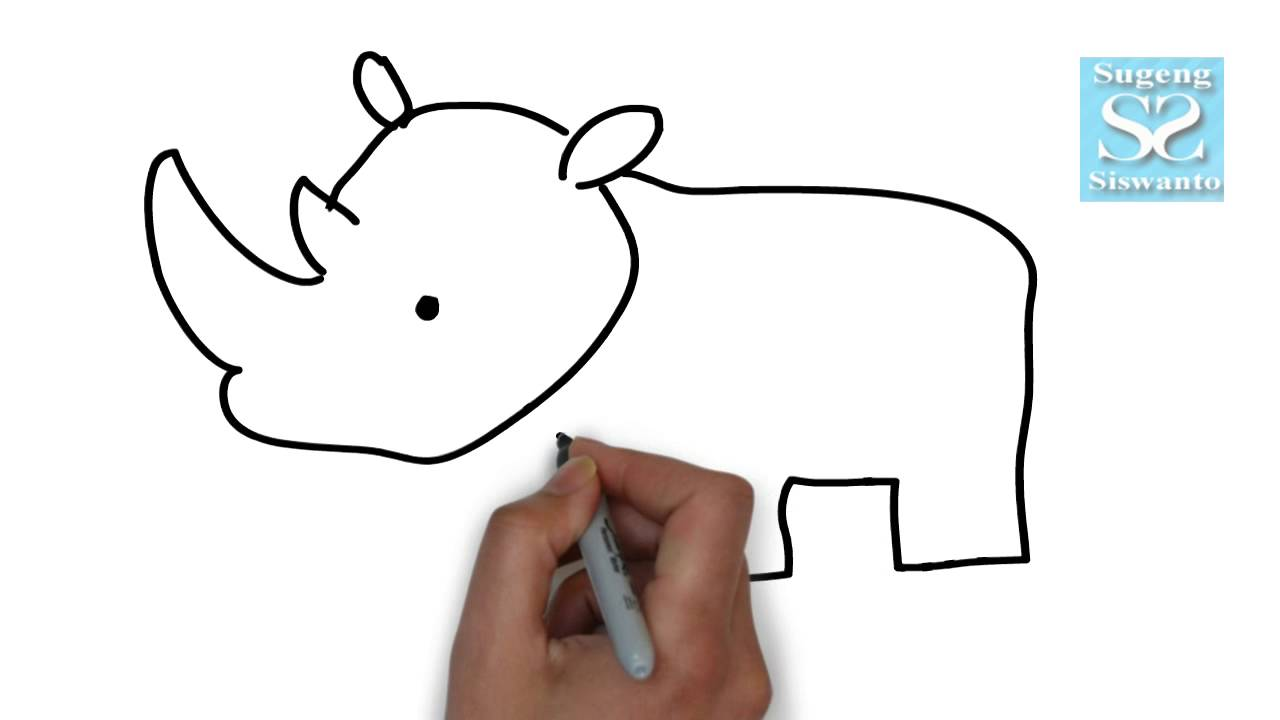 Menggambar Binatang Badak Draw Animals Rhinoceros Youtube