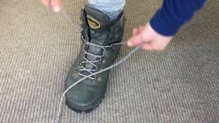 How to tie hiking boots: foot lock down lacing