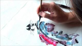 japanese painting sumi-e, japanese woman