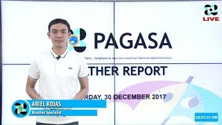 Public Weather Forecast Issued at 4:00 PM December 30, 2017