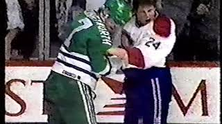 Lyle Odelein vs Randy Cunneyworth & Whalers vs Canadiens Line Brawl 1992