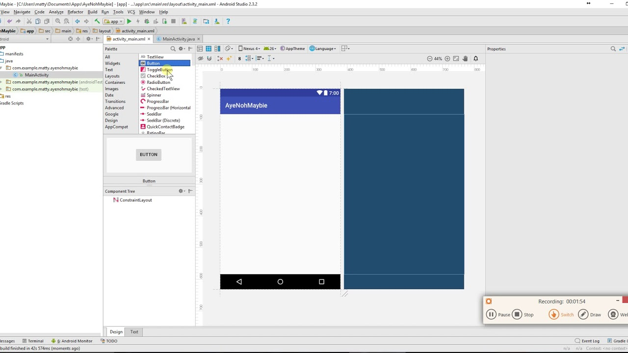 Android make a button in blueprint and link it to code youtube android make a button in blueprint and link it to code malvernweather Images