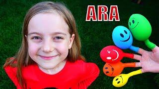 Ulya تغني أغنية الألوان والفتاة تتظاهر باللعب في التقاط الكرة 동요와 아이 노래  어린이 교육