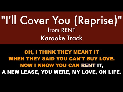 """I'll Cover You (Reprise)"" From RENT - Karaoke Track With Lyrics On Screen"