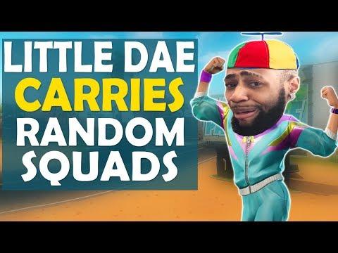 LITTLE KID DAEQUAN CARRIES RANDOM SQUADS | HIGH KILL FUNNY GAME - (Fortnite Battle Royale)