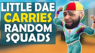 LITTLE KID DAEQUAN CARRIES RANDOM SQUADS | HIGH KILL FUNNY GAME - (Fortnite Battle Royale)