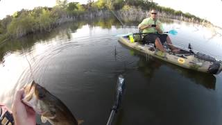 hot morning and fun times kayak bass fishing with friends