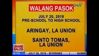 UB: Karagdagang lugar na walang pasok ngayong Biyernes (July 20, 2018)