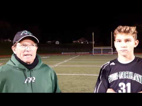 Pine-Richland's Niko Marsh and Coach Jon Connor after WPIAL Q-final win vs P-Trafford