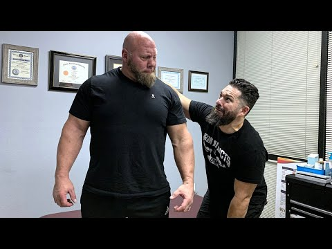 STRONGEST MEN IN HISTORY: NICK BEST gets his shoulder hammered by Chiropractor