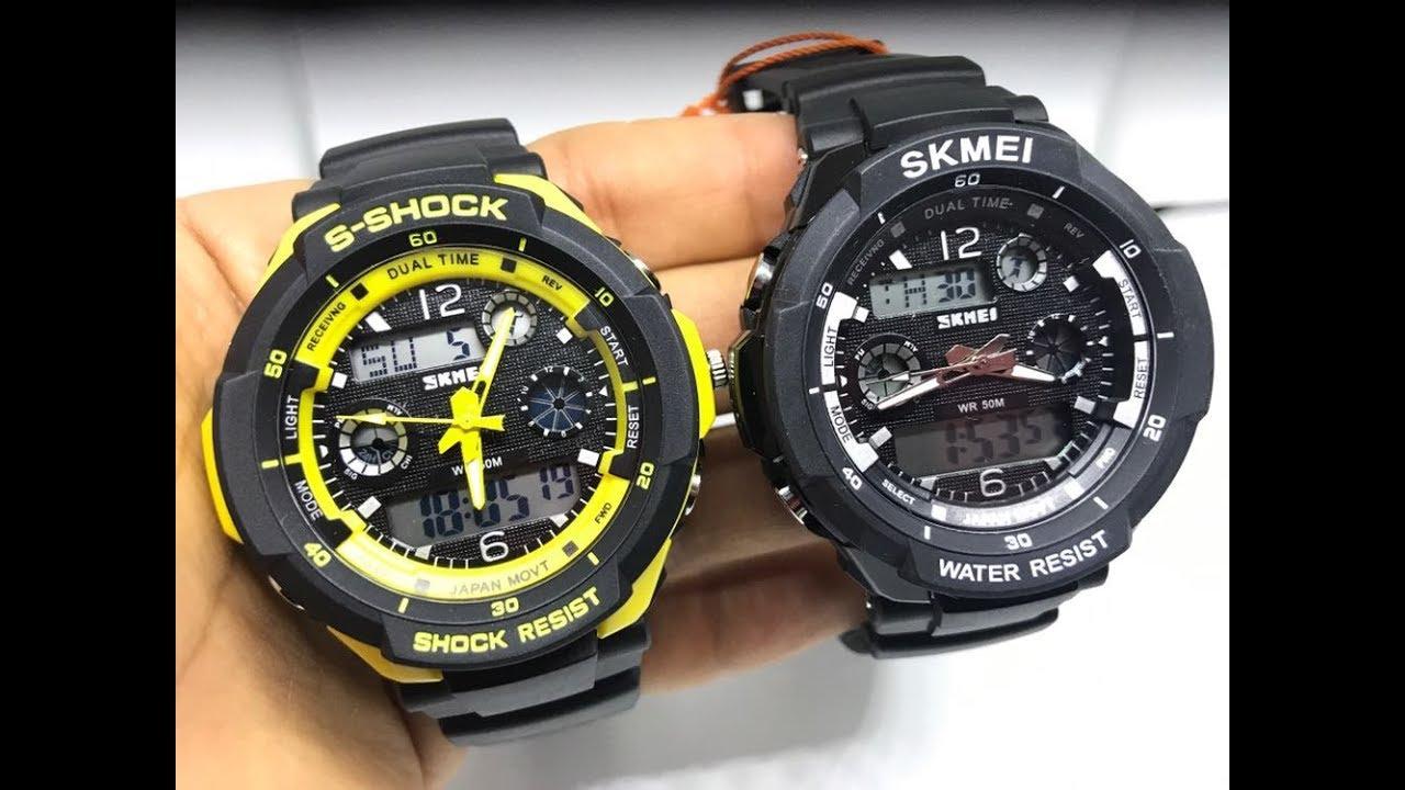 2958926187c Como ajustar hora digital e analógico relógio S Shock e Skmei - YouTube