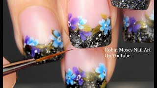 Flowers on Wool Tipped French Nails | Winter Nail Art Design