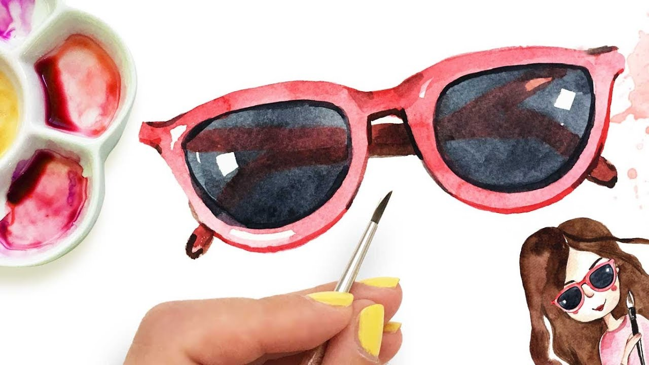 3866e6c0b99 How to paint sunglasses with watercolor in 3 easy steps! - YouTube