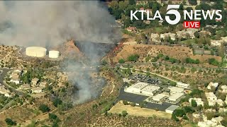 Brush Fire Burns Near School in Santa Clarita Area