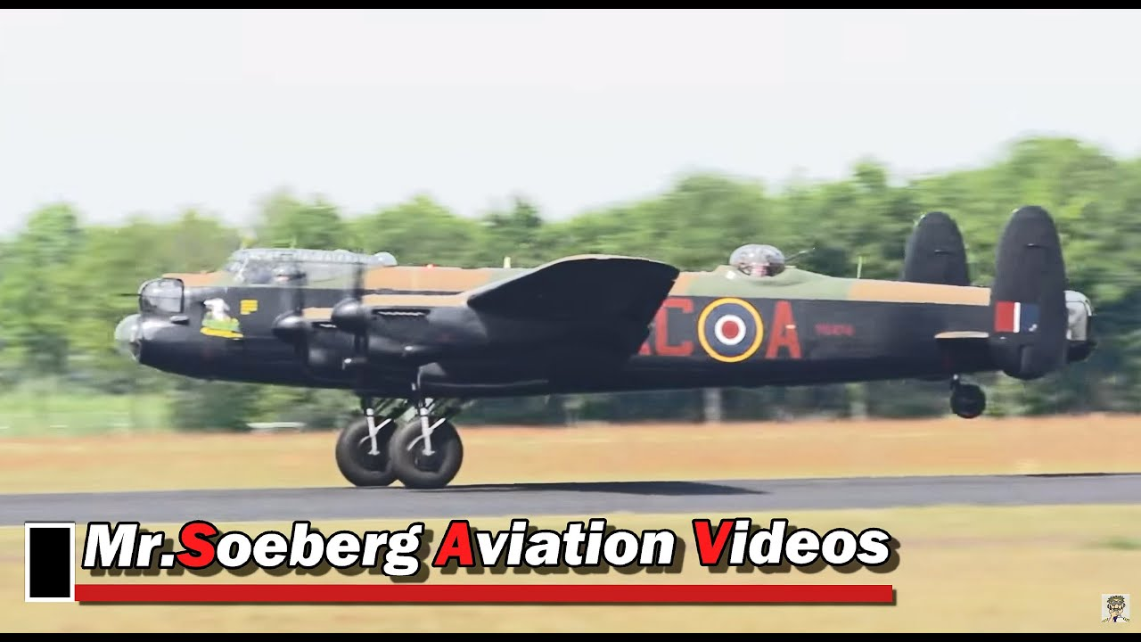 AVRO Lancaster, BBMF, Nice Departure at Eindhoven - YouTube