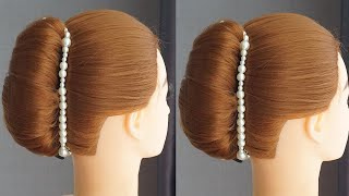 Very Easy Hairstyle For Long Hair French Bun Hairstyle For Wedding Hair Style Girl Bun For Party