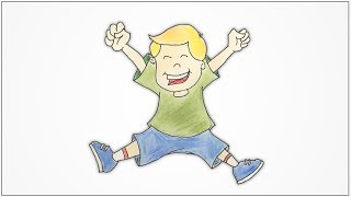 How to draw a happy kid jumping with joy step by step