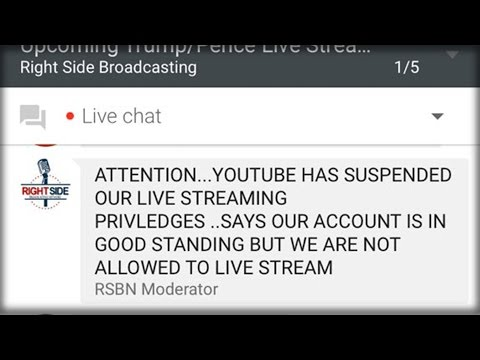 BREAKING: RIGHTSIDE BROADCASTING RESTRICTED FROM LIVE STREAMING ON YOUTUBE