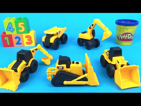 Play Doh CAT Learn 1-5 Mini Machines Excavator Bulldozer Dump Truck Front Loader Digger stop motion