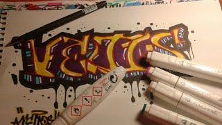 Рисования граффити Veltos wild style