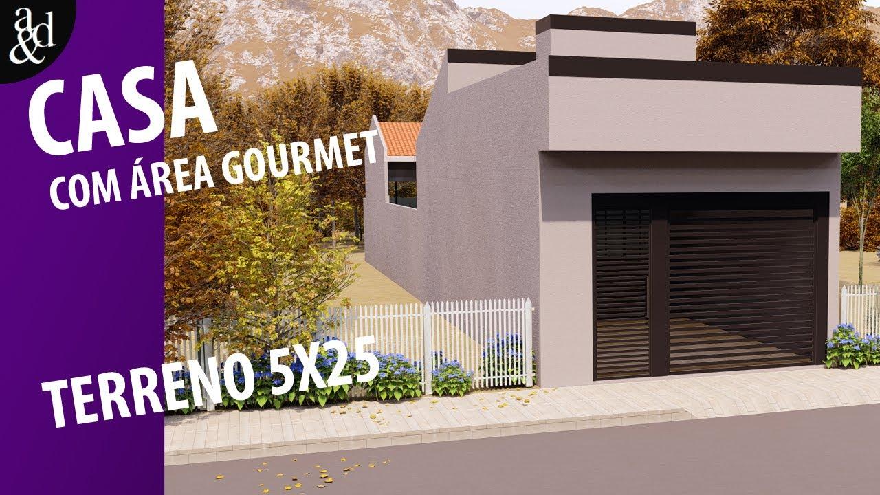 Casa Em Meio Terreno- 5x25m | Com Planta humanizada.