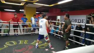 Manny Pacquiao practises moves in the ring