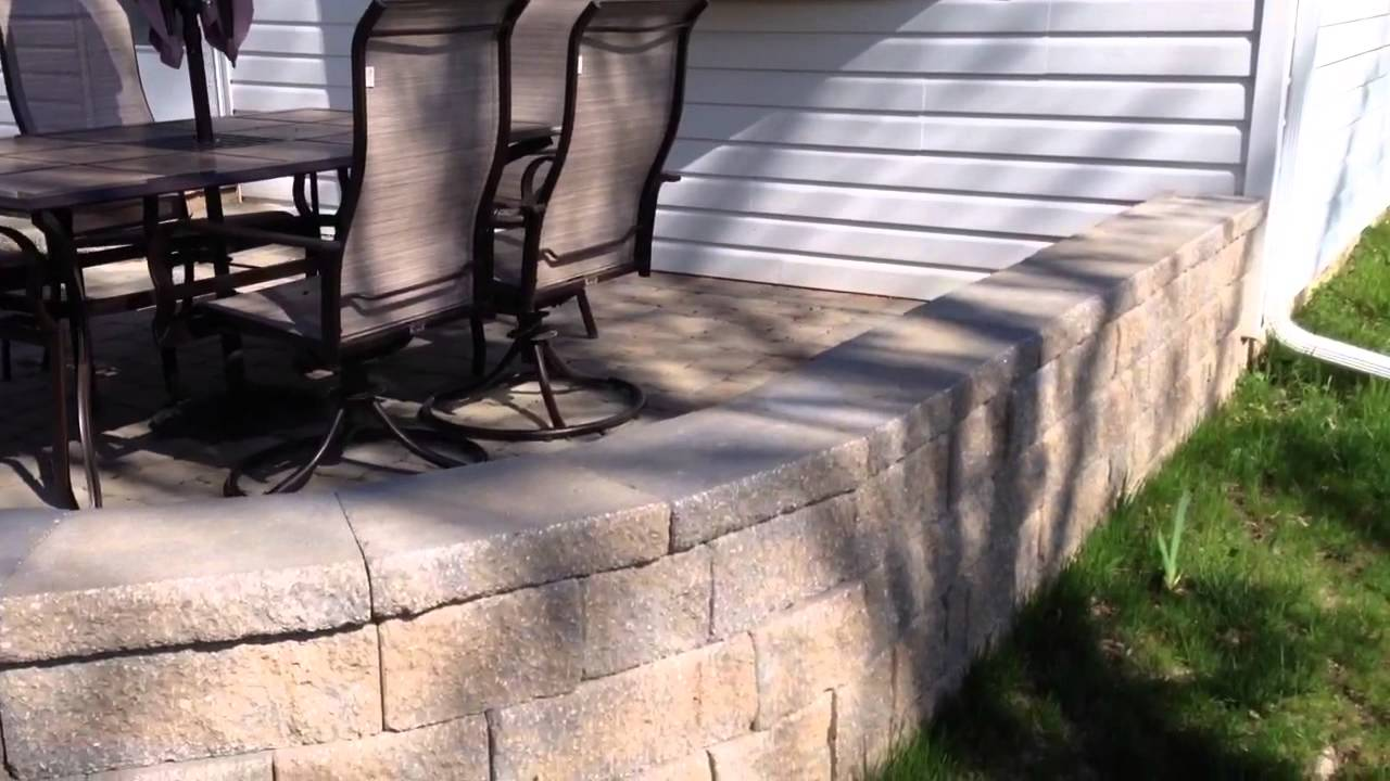 Paver Patio With Sitting Wall Youtube