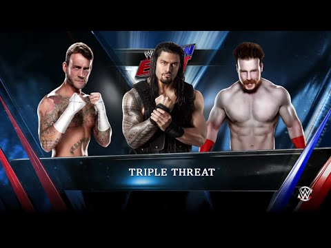 WWE 2K15 Sheamus vs CM Punk vs Roman Reigns Triple Threat Match 2015 (PS4) HD