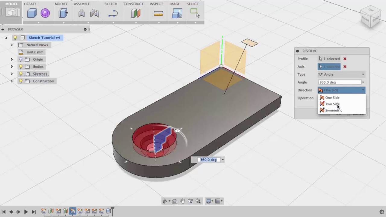 Autodesk Fusion 360 Create a Solid Body Using Sketches