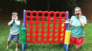 Caleb & Mommy Play GIANT CONNECT 4 OUTDOOR FAMILY FUN GAME